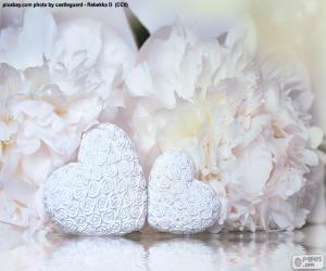 Puzzle de Dos corazones blancos