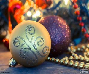 Puzzle de Dos elegantes bolas Navidad