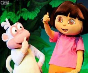 Puzzle de Dos grandes amigos, Dora y Botas