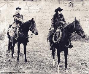 Puzzle de Dos mujeres cowboy