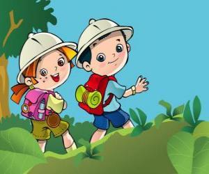 Puzzle de Dos pequeños exploradores en una expedición