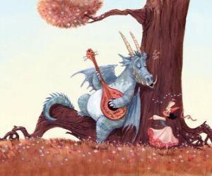 Puzzle de Dragón cantado una canción a la princesa