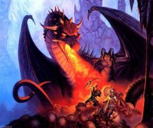 Puzzle de Dragón lanzando fuego por la boca