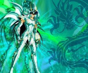 Puzzle de Dragon Shiryu, uno de los cinco héroes de Saint Seiya. El caballero de bronze de la constelación de Dragón