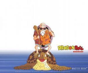 Puzzle de Duende Tortuga, Genio de la Tortuga, Muten Roshi o Kame Sennin, el anciano maestro de artes marciales que entrena a Son Goku y Krilín