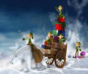 Puzzle de Duendes ayudando a Papá Noel a repartir los regalos de Navidad