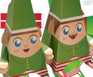 Puzzle de Duendes de Navidad de papel