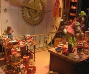 Puzzle de Duendes de Navidad haciendo los juguetes para los regalos