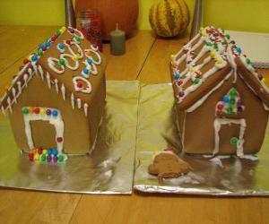 Puzzle de Dulce y bonito adorno navideño, dos casitas de pan de jenjibre