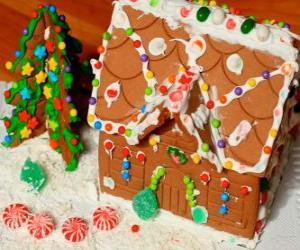 Puzzle de Dulce y bonito adorno navideño, una casita de pan de jenjibre
