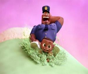 Puzzle de Earl Devereaux, el policía y su hijo Cal sobre una bola de helado
