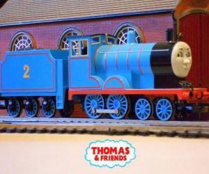 Puzzle de Edward, la locomotora de color azul tiene el número 2
