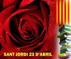 Puzzle de El 23 de abril, día de San Jorge, se celebra en Cataluña la Fiesta del Libro y la Rosa