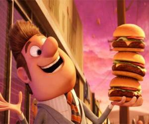 Puzzle de El alcalde contento con tres hamburguesas en la mano