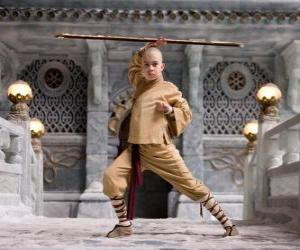 Puzzle de El avatar Aang es el protagonista principal de las aventuras y su destino es dominar los cuatro elementos: Aire, Agua, Tierra y Fuego