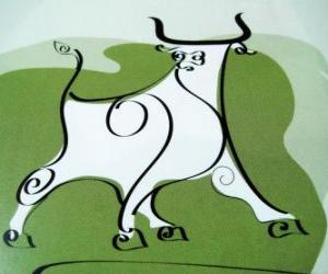 Puzzle de El buey, el signo del búfalo, el Año del Buey. El segundo animal del zodíaco chino