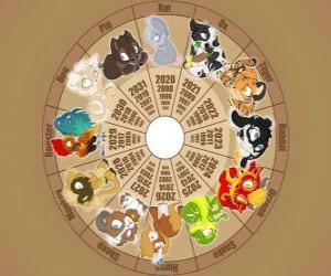 Puzzle de El círculo con los signos de los doce animales del zodíaco o horóscopo chino