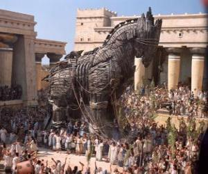 Puzzle de El caballo de Troya, un gigante caballo hueco de madera