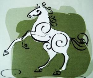 Puzzle de El caballo, el signo del Caballo, el Año del Caballo en la astrología china. El séptimo animal del zodíaco chino