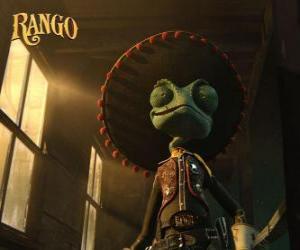 Puzzle de El camaleón Rango cree que es un héroe y se autoproclama sheriff de Dirt