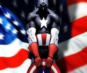 Puzzle de El Capitán América es un superhéroe patriótico y experto en la lucha cuerpo a cuerpo