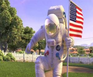 Puzzle de El capitán Charles Chuck Baker, clavando la bandera americana al aterrizar en Planet 51