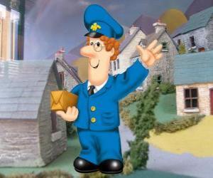 Puzzle de El cartero Pat Clifton vive en Greendale con su mujer Sara y su hijo Julian