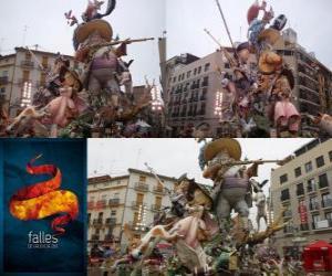 Puzzle de - El cazador cazado - ganador de las Fallas 2011. La fiesta de las Fallas se celebra del 15 al 19 de marzo en Valencia, España.