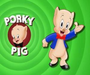 Puzzle de El cerdito Porky, un personage de dibujos animados en Loonely Tunes de la Warner Bros