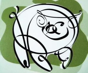 Puzzle de El cerdo, signo del Cerdo, el año del Cerdo en la astrología china. El último de los doce animales en el zodíaco chino