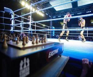Puzzle de El chess boxing, es un deporte híbrido que combina el ajedrez y el boxeo.