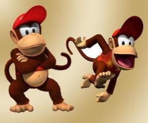 Puzzle de El chimpancé Diddy Kong, personaje de los videojuegos Donkey Kong