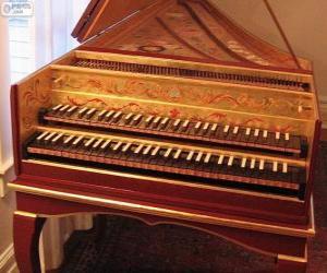Puzzle de El clavecín es un instrumento musical con teclado y cuerdas pulsadas, como el arpa y la guitarra
