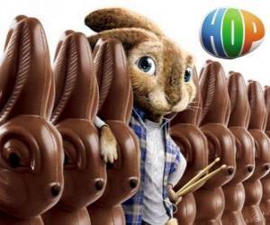 Puzzle de El conejo EB deberá suceder a su padre como Conejo de Pascua. Hop, la película o Hop: Rebelde sin Pascua