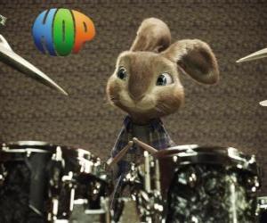 Puzzle de El conejo Hop con las baquetas para tocar música con la batería