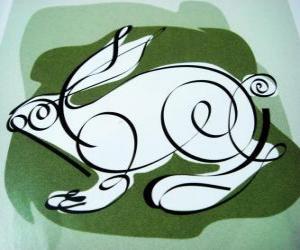 Puzzle de El conejo, signo del conejo, el Año del Conejo. El cuarto animal del horóscopo chino