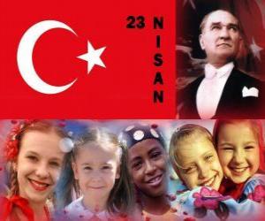 Puzzle de El Día de la Soberanía Nacional y el Día del Niño se celebra en Turquía cada 23 de abril