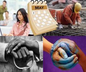 Puzzle de El Día del Trabajo, Día Internacional de los Trabajadores o Primero de Mayo es la fiesta mundial del movimiento obrero. Se celebra el día 1 de mayo en muchos países