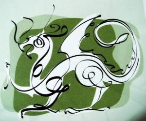 Puzzle de El dragón, el signo del Dragón, el Año del Dragón. Quinto animal del zodíaco chino
