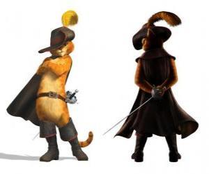 Puzzle de El elegante Gato con la espada en el cinto, el sombrero, la capa y las botas