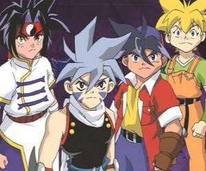 Puzzle de El equipo de los Bladebreakers, Tyson Granger, Kai Hiwatari, Ray Kon y Max Tate