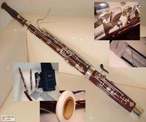 Puzzle de El fagot instrumento musical de tubo cónico perteneciente a la familia de viento-madera