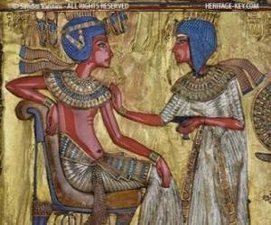 Puzzle de El faraón sentado en su trono con el cetro nejej, en forma de látigo, en la mano