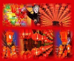 Puzzle de El festival de los farolillos es el fín de las celebraciones del Año Nuevo chino. Preciosos farolillos de papel
