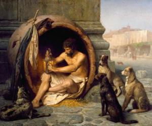 Puzzle de El filósofo griego Diógenes de Sinope, dentro de su barril, en las calles de Atenas