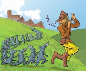 Puzzle de El Flautista de Hamelín tocando la flauta seguido por las ratas