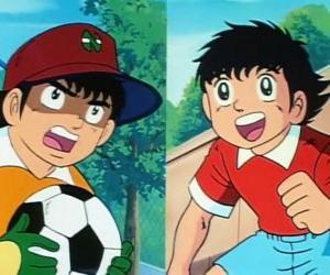 Puzzle de El futbolista Oliver y su amigo Benji que juega de guardameta