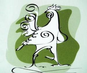 Puzzle de El gallo, el signo del gallo, el Año del Gallo de la astrología china. El décimo de los animales del horóscopo chino