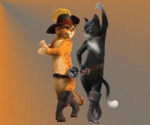 Puzzle de El Gato con Botas bailando con la gata Kitty