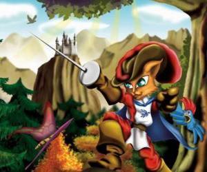 Puzzle de El gato con botas con la espada en alto